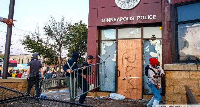 Video: Minneapolis protesters run off police, burn police station to the ground