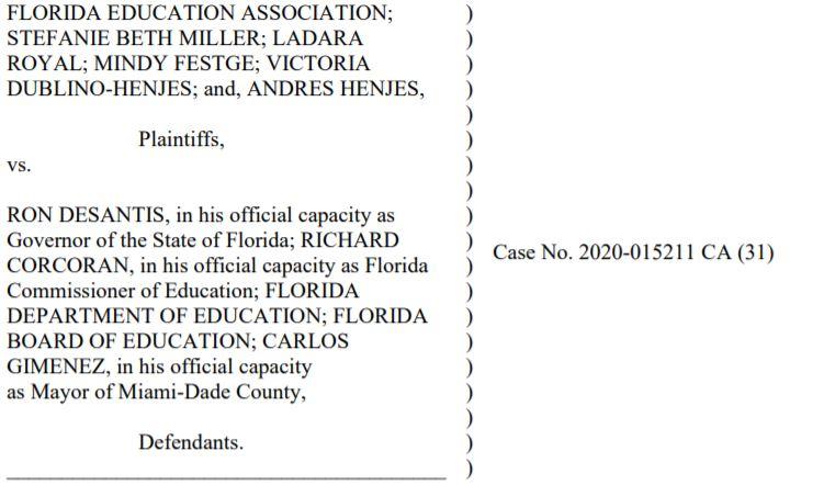 gov desantis, lawsuit, daily lash, florida schools
