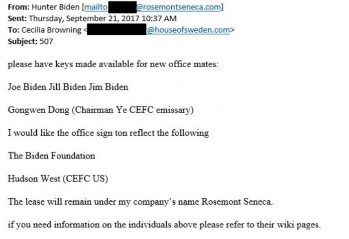Emails show Hunter Biden requested keys for new 'office mates' Joe Biden, Jill Biden, Chinese 'emissary' to CEFC chairman